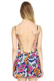 Urban Love Floral V-Neck Open Back Romper - WholesaleClothingDeals - 4