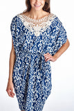 Marcelle Margaux Ikat Print Dress with Crochet Yoke Trim - WholesaleClothingDeals - 10