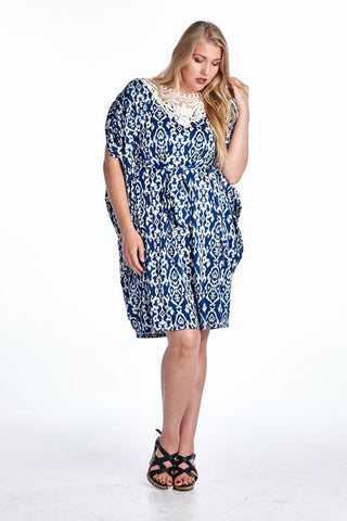 Marcelle Margaux Plus Ikat Printed Crochet Dress - WholesaleClothingDeals - 1
