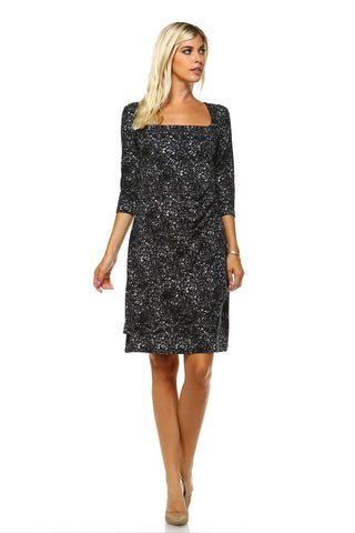 Women's 3/4 Three Quarter Sleeve Sheath Dress with Abstract pattern