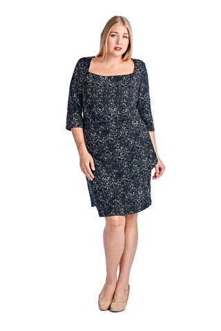 Women's Plus Size 3/4 Three Quarter Sleeve Square Neck Sneath Dress