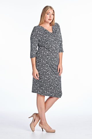 Marcelle Margaux Plus Cowl Neck Drape Dress with Floral Pattern - WholesaleClothingDeals - 1