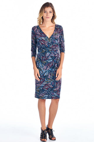 Marcelle Margaux 3/4 Sleeve Abstract Pattern V-neck Dress - WholesaleClothingDeals - 1