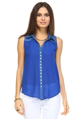 Marcelle Margaux Button Down Open Back Top -  - 1