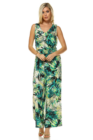 Women's Tropical Printed Sleeveless Jumpsuit