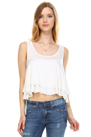 Urban Love Double Layer Loose Crop Tank - WholesaleClothingDeals - 1