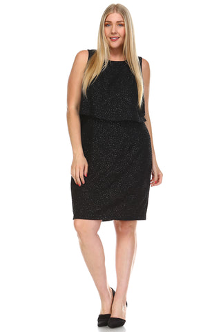 SLNY Plus Sequin Layered Dress -  - 1