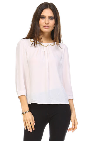 Marcelle Margaux Bead Detail Chiffon Top -  - 1