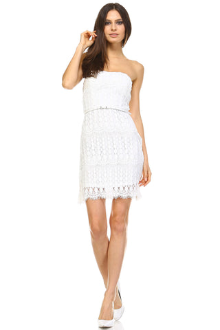 Marcelle Margaux Belted Lace Dress -  - 1