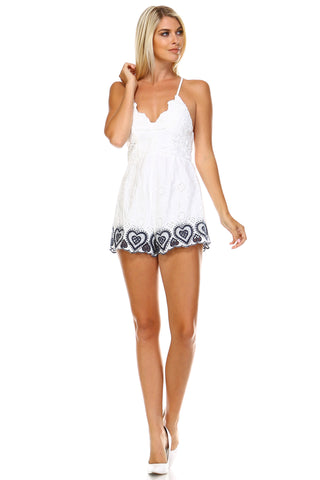 Marcelle Margaux V-Neck Embroidered Detail Romper -  - 1