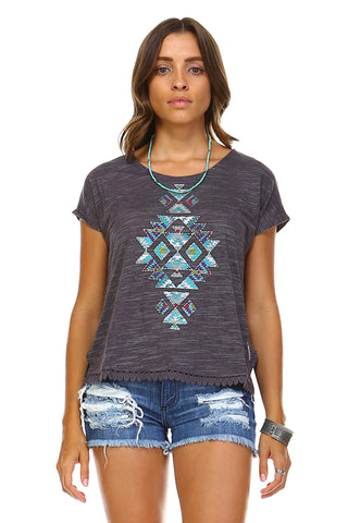 Christine V Aztec Printed Embroidery Trim Top -  - 1
