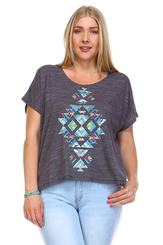 Christine V Plus Aztec Printed Embroidery Trim Top -  - 1