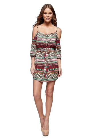 Women's Aztec Printed Cold Shoulder Tank Dress