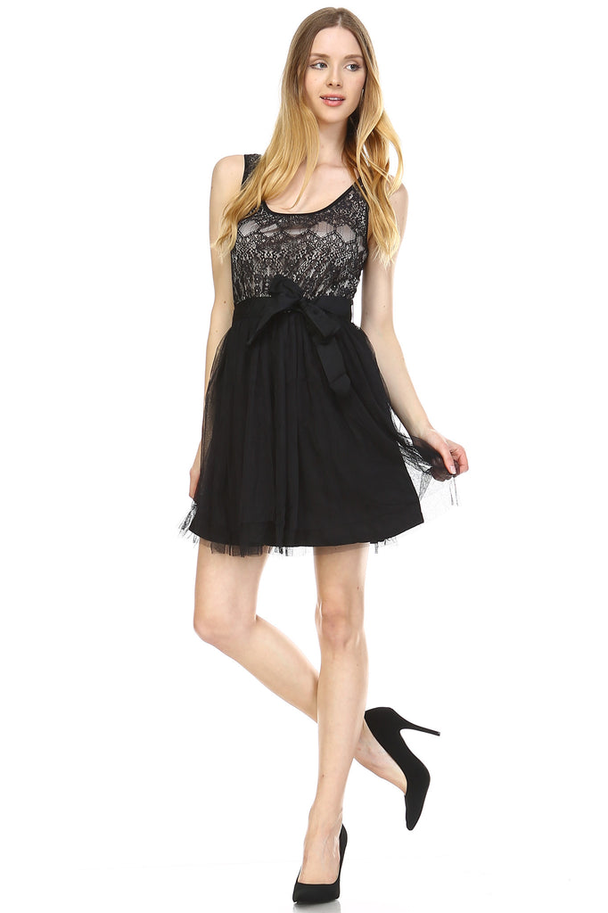 Urban Love Lacy Tulle Dress with Waist Tie - WholesaleClothingDeals - 1