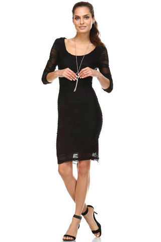 Women's 3/4 Three Quarter Sleeve Textured Knit Midi Dress