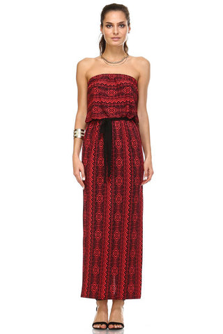 Women's Printed Strapless Maxi Dress