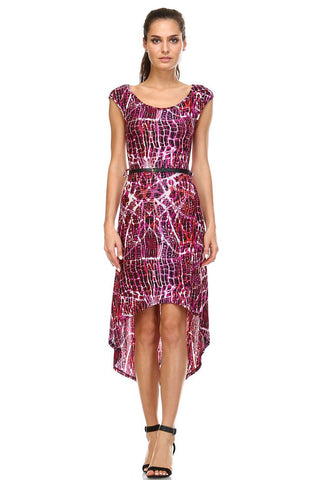 Women's Abstract Print Belted Hi-Low Dress