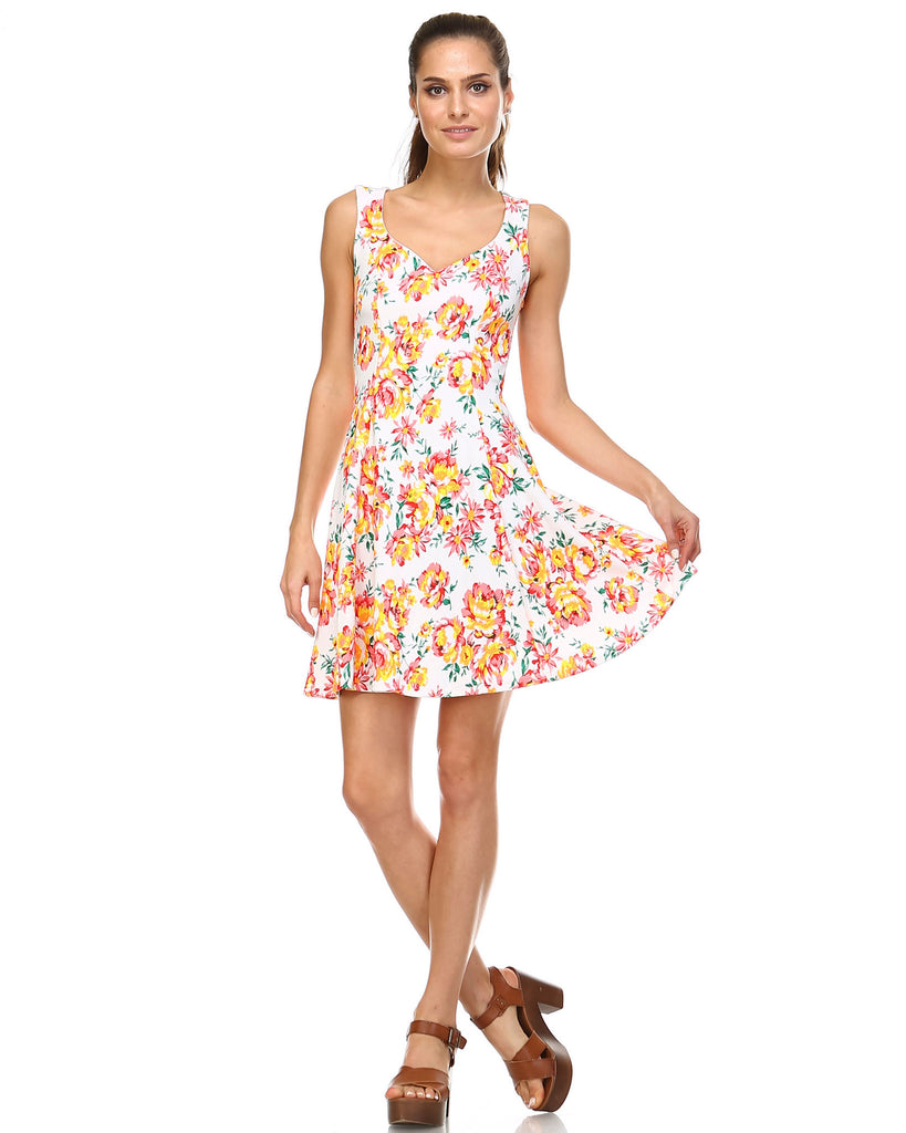 Urban Love Floral Printed Skater Dress - WholesaleClothingDeals - 1