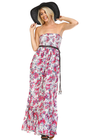 Marcelle Margaux Printed Strapless Smocked Maxi Dress w/Belt -  - 2