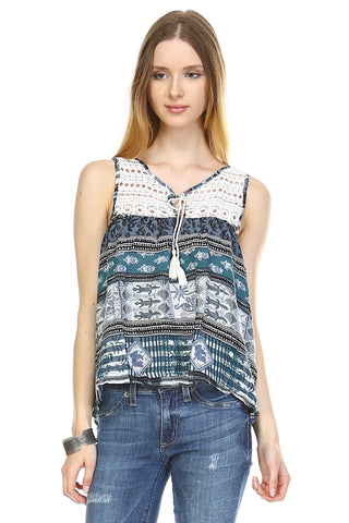 Urban Love Crochet Printed Top - WholesaleClothingDeals - 1