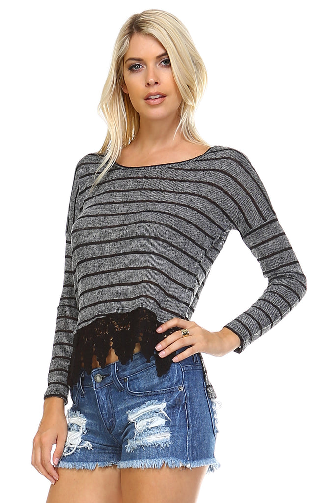 Marcelle Margaux Long Sleeve Stripe Hatchi Top with Crochet Front Hem -  - 1