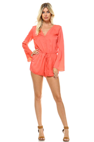 Women's Long Sleeve Waist Tie Romper