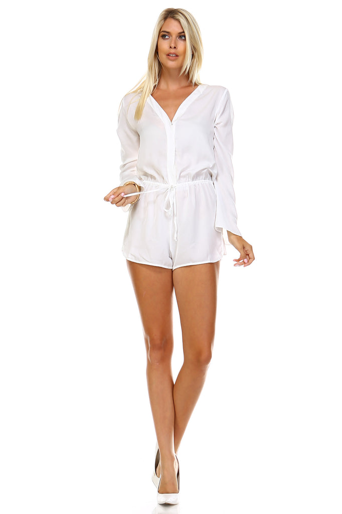 Marcelle Margaux Long Sleeve Waist Tie Romper -  - 5