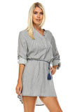 Marcelle Margaux Front Tassel Tie Button Up Dress -  - 3