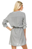 Marcelle Margaux Front Tassel Tie Button Up Dress -  - 4