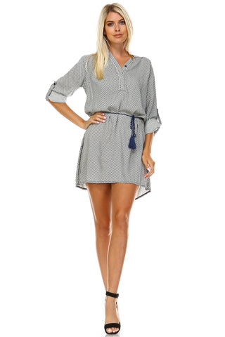 Marcelle Margaux Front Tassel Tie Button Up Dress -  - 1