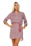 Marcelle Margaux Front Tassel Tie Button Up Dress -  - 6
