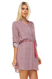 Marcelle Margaux Front Tassel Tie Button Up Dress -  - 7