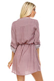 Marcelle Margaux Front Tassel Tie Button Up Dress -  - 8