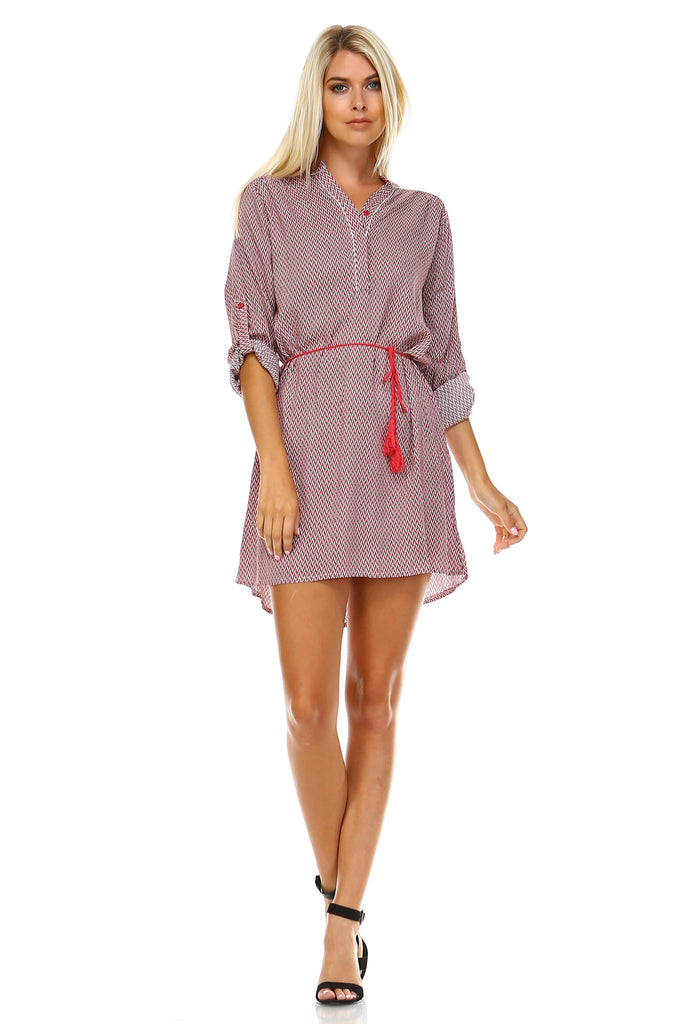 Marcelle Margaux Front Tassel Tie Button Up Dress -  - 5