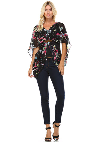Marcelle Margaux Butterfly Cut Loose V-Neck Top - WholesaleClothingDeals - 1