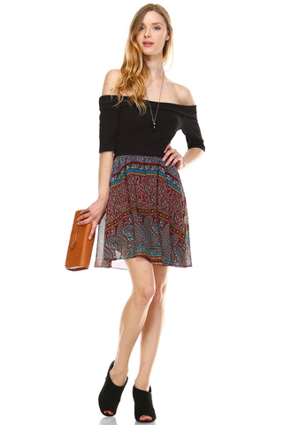 Urban Love Printed Off Shoulder A-Line Dress - WholesaleClothingDeals - 5