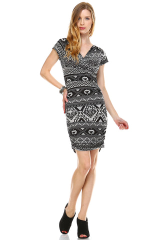 Urban Love Printed V-neck Bodycon Dress - WholesaleClothingDeals - 1