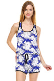 Urban Love Tropical Print RacerBack Sleeveless Romper - WholesaleClothingDeals - 2
