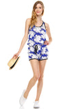 Urban Love Tropical Print RacerBack Sleeveless Romper - WholesaleClothingDeals - 1