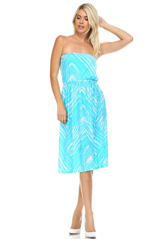 Christine V Strapless Printed Dress -  - 1