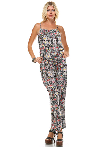 Marcelle Margaux Sleeveless Elastic Waistline Printed Jumpsuit - WholesaleClothingDeals - 1
