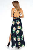Women's Floral Sleeveless Slit Maxi Dress