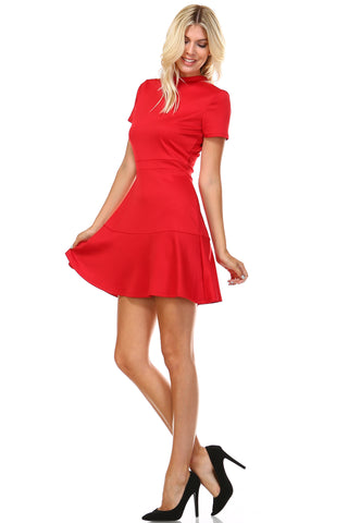 Marcelle Margaux High Neck Short Sleeve Fit and Flare Dress - WholesaleClothingDeals - 3