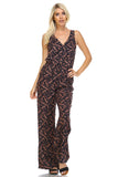 Marcelle Margaux Leaf Printed V-Neck Jumpsuit -  - 2