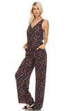 Marcelle Margaux Leaf Printed V-Neck Jumpsuit -  - 1