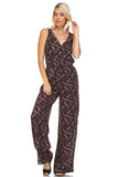 Marcelle Margaux Leaf Printed V-Neck Jumpsuit -  - 4