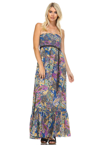 Marcelle Margaux Paisley Printed Strapless Belted Maxi Dress -  - 1