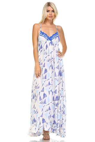 Marcelle Margaux Printed Tie-Back Maxi Dress w/Lace Trim -  - 1