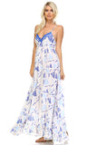Marcelle Margaux Printed Tie-Back Maxi Dress w/Lace Trim -  - 3