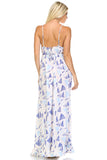 Marcelle Margaux Printed Tie-Back Maxi Dress w/Lace Trim -  - 4